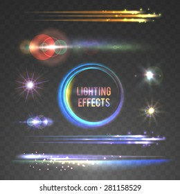 Lens flare and lighting effects collection. Vector illustration, eps10.