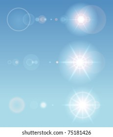 Lens flare set with transparent easy replace background and edit colors. Vector design elements Eps 10.