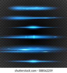 Lens flares with blue streaks. Transparent light effect. Vector illustration