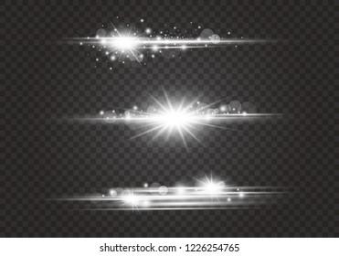 Lens flares and lighting effects on transparent background vector illustration