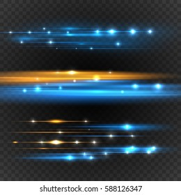 Lens flares with streaking distortion. Transparent light effect. Vector illustration
