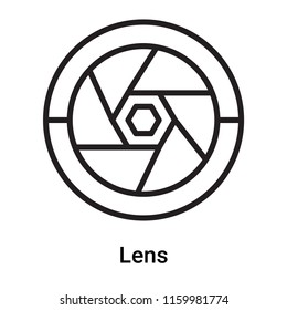 Lens icon vector isolated on white background, Lens transparent sign , line or linear symbol and sign design in outline style