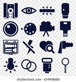 Lens icons set. set of 16 lens filled icons such as heart search, magnifier, camera zoom, camera flash, no flash