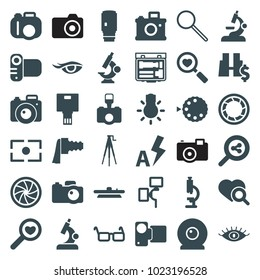 Lens icons. set of 36 editable filled lens icons such as eye, microscope, camera, heart search, search share, glasses, camera zoom, auto flash, binoculars with dollar sign