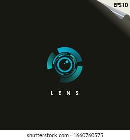 Lens Of Photography Logo Design Vector Template With Gradient Colour. Modern Design. Lens Logo. Vector Illustration