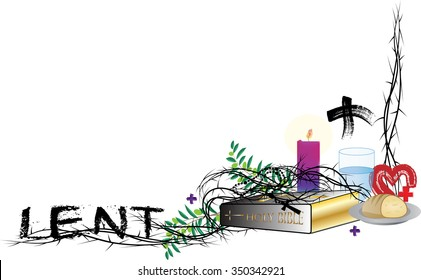 Lent corner frame or border, with symbols of the Lent season with thorns, and copy space for text.