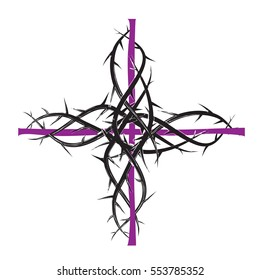 Lent cross, purple christian religious cross with thorns. Abstract artistic religious illustration, graphic element.