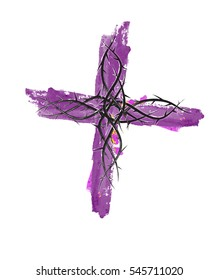 Lent cross, purple watercolor style christian religion cross with thorns. Abstract artistic religious illustration, graphic element.