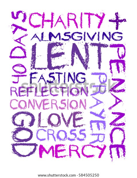 Lent Word Cloud Christian Religious Season Stock Vector  Royalty Free  584505250