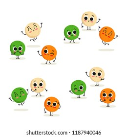 Lentil. Cute cartoon vegan protein food vector character set isolated on white