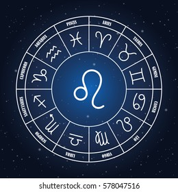 Leo astrology sing in zodiac circle on the background of starry sky, set of astrology sings