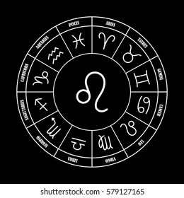 Leo astrology sing in zodiac circle on the black background, set of astrology sings