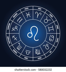 Leo astrology sing in zodiac circle on the dark blue background, set of astrology sings