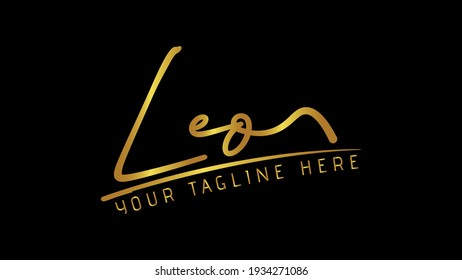 LEO, leo Beauty vector name logo, handwriting logo signature, photography, wedding, fashion, jewerly, boutique, floral and botanical with creative template for any company or business.