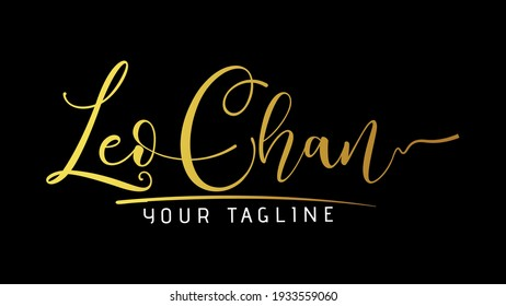 Leo Chan Beauty vector name logo, handwriting logo signature, wedding, fashion, jewerly, boutique, floral and botanical with creative template for any company or business.