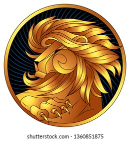 Leo golden zodiac sign, astrological icon, horoscope symbol of gold. Lion with gilded mane and claws. Head in profile, looking away. Raised Up Paw with gilt sharp claws. Portrait lev in circle. Vector
