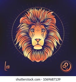 Leo, lion Zodiac sign. Astrological horoscope collection. Multicolor on black dackground. Vector illustration