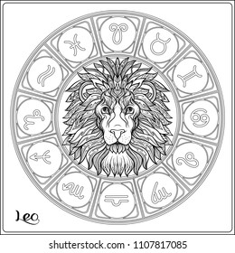 Leo, lion Zodiac sign. Astrological horoscope collection. Outline vector illustration. Outline hand drawing coloring page for the adult coloring book.