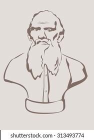 Leo Nicolaevich Tolstoy- russian writer (1828 - 1910). Vector.