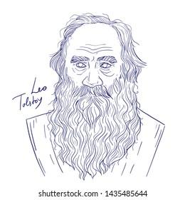 Leo Tolstoy hand drawn vector line art portrait