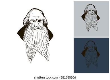 Leo Tolstoy sketch vector portrait. Hand drawn Leo Tolstoy portrait. Line art Leo Tolstoy drawing. Vector Leo Tolstoy pen portrait.