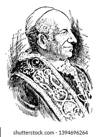 Leo XIII 1810 to 1903 he was a pope from 1878 to 1903 vintage line drawing or engraving illustration