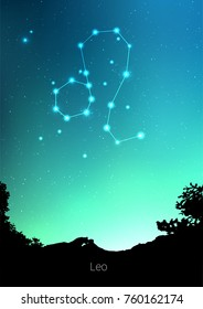 Leo zodiac constellations sign with forest landscape silhouette on beautiful starry sky with galaxy and space behind. Leo horoscope symbol constellation on deep cosmos background. Card design