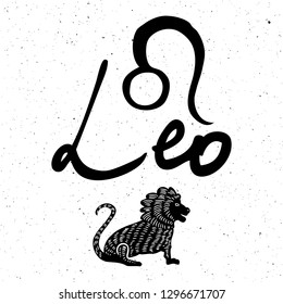 Leo zodiac hand drawing sign for horoscope. Usable for mystic  occult  palmistry and witchcraft alchemy. Vector.