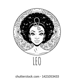 Leo zodiac sign artwork, adult coloring book page, beautiful horoscope symbol girl, vector illustration