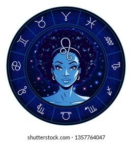 Leo zodiac sign artwork, beautiful girl face, horoscope symbol, star sign, vector illustration