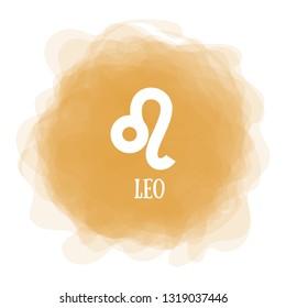 Leo. Zodiac sign. Astrological calendar. Zodiacal color vector horoscope. Smoky circle. Line symbol
