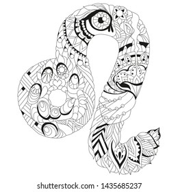 Leo zodiac sign cute cartoon lion character retro zentangle stylized in vector