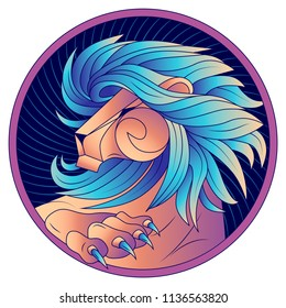 Leo zodiac sign, horoscope symbol. Lion with  blue mane and claws. Futuristic style icons. Head in profile, looking away. Raised Up Paw with sharp claws. Portrait lion at circle. Vector illustration.