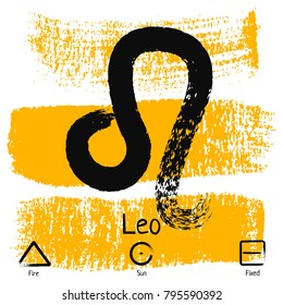 Leo. Zodiac sign pictogram. Calligraphic zodiac signs. Brush hand drawn. Vector illustration leo zodiac sign.
