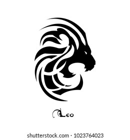 Leo zodiac sign tattoo art vector