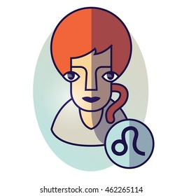 Leo zodiac sign. Vector illustration of horoscope. Girl portrait in a Leo character