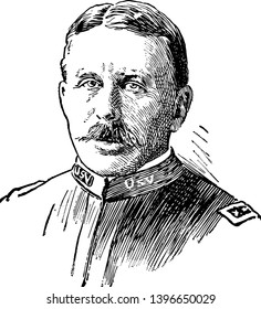 Leonard Wood 1860 to 1927 he was United States army officer governor of Cuba and governor general of the Philippines vintage line drawing or engraving illustration