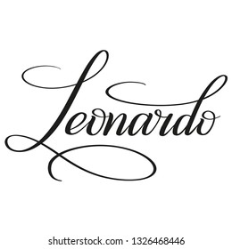 Leonardo. Calligraphic spelling of the name. Copperplate style. Isolated black script. Vector.