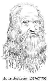 "Leonardo Da Vinci (1452-1519) portrait in line art illustration. He was a painter, sculptor, architect, inventor, military engineer and draftsman — the epitome of a ""Renaissance man."""