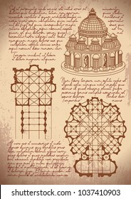 Leonardo da Vinci architecture. Leonardo da Vinci basilica sketch. Vintage paper background with drawings.