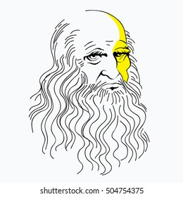 Leonardo da Vinci portrait, thin line of ink. felt-tip pen. linear pattern, a symbol, a genius.vector illustration isolated on white background