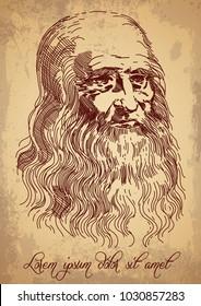 Leonardo da Vinci Self-Portrait. Italian Renaissance painter.