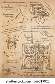Leonardo da Vinci sketch. Design for Self-Propelled Cart. History's first car. Vector illustration.