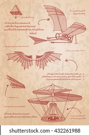 Leonardo da Vinci sketch. Designs for flying machines. Leonardo da Vinci's ornithopter design. An oldest  parachute. Vector illustration.