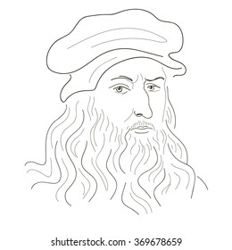 Leonardo Da Vinci. Sketch illustration. Black and white. Vector.