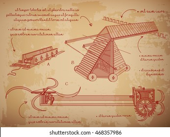 Leonardo da Vinci sketches. The Siege Machine, an Artillery Park, a killing machine. Leonardo da Vinci style. Vector illustration.