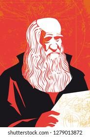 Leonardo da Vinci vector portrait