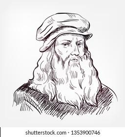 Leonardo da Vinci vector sketch portrait