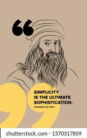 Leonardo Da Vinci vector sketch illustration with simplicity quote.