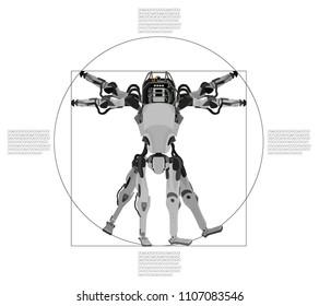 Leonardo Da Vinci - Vetruvian Man (Robot), robotics anatomy. Modern styling, different position of a robot, vector illustration